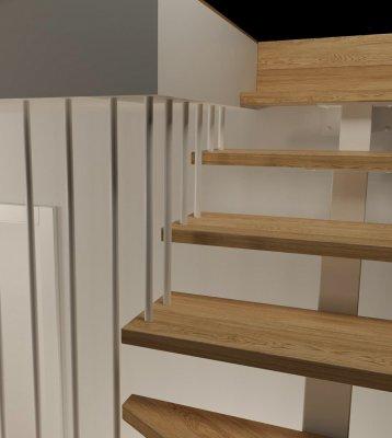 poddasze -widok 03 -druga wersja balustrady - balustrada podstropowa
